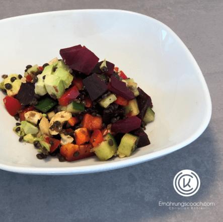 Belugalinsen-Rotebete-Salat